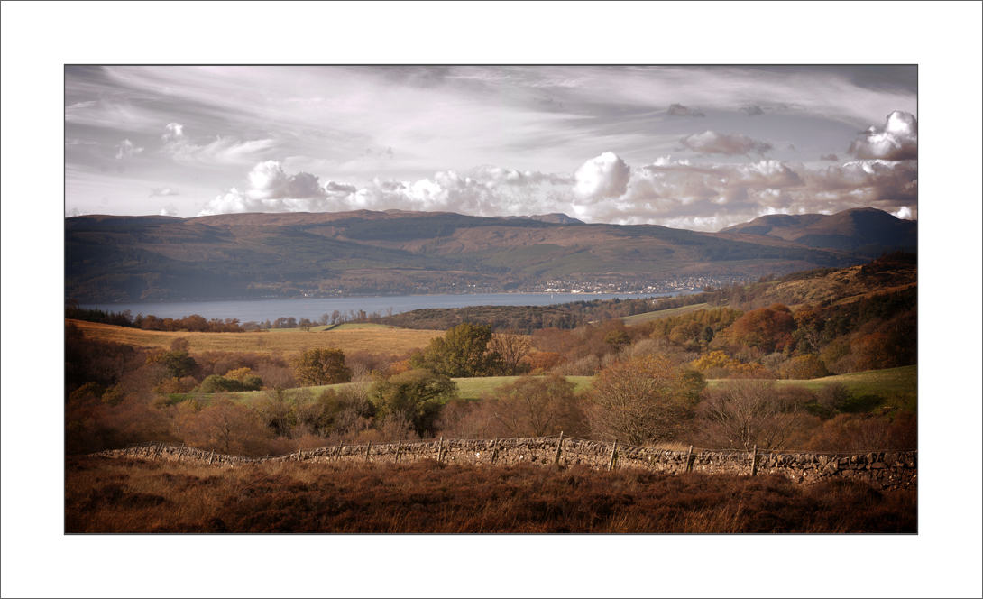View from teh top pf greenock cut looking down over the Clyde estuary towards Dunoon